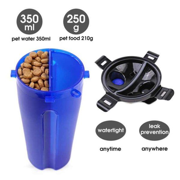 Bouteille d'eau pour animaux de compagnie conteneur alimentaire 2-en-1